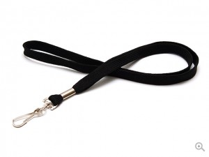 Black tube polyester lanyard with metal swivel hook